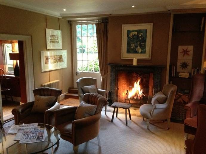 Roaring Log Fire In The Morning Room At Barnsley House In