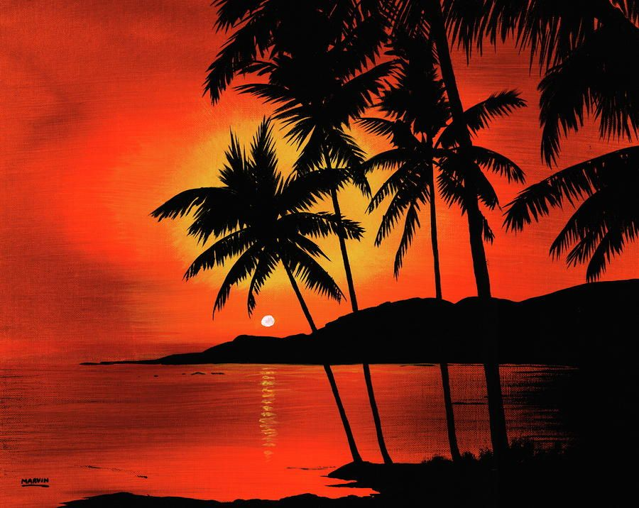 Hawaiian Sunset Painting Sunset Art Sunset Canvas
