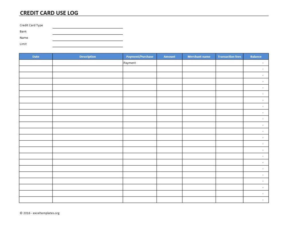 Credit Card Excel Spreadsheet Template Lovely Credit Card Use Log Template Excel Templates Spreadsheet Template Excel Spreadsheets Templates Excel Templates