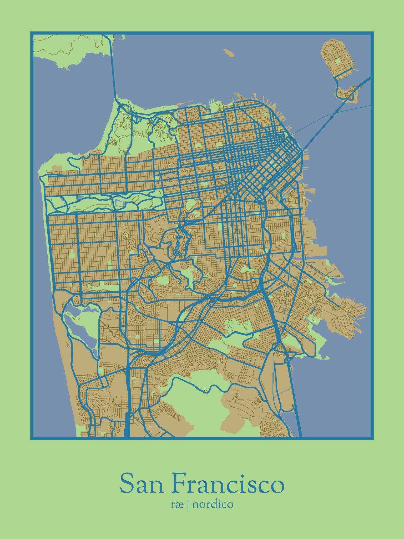 San Francisco, USA Map Print | My City ❤ SF...