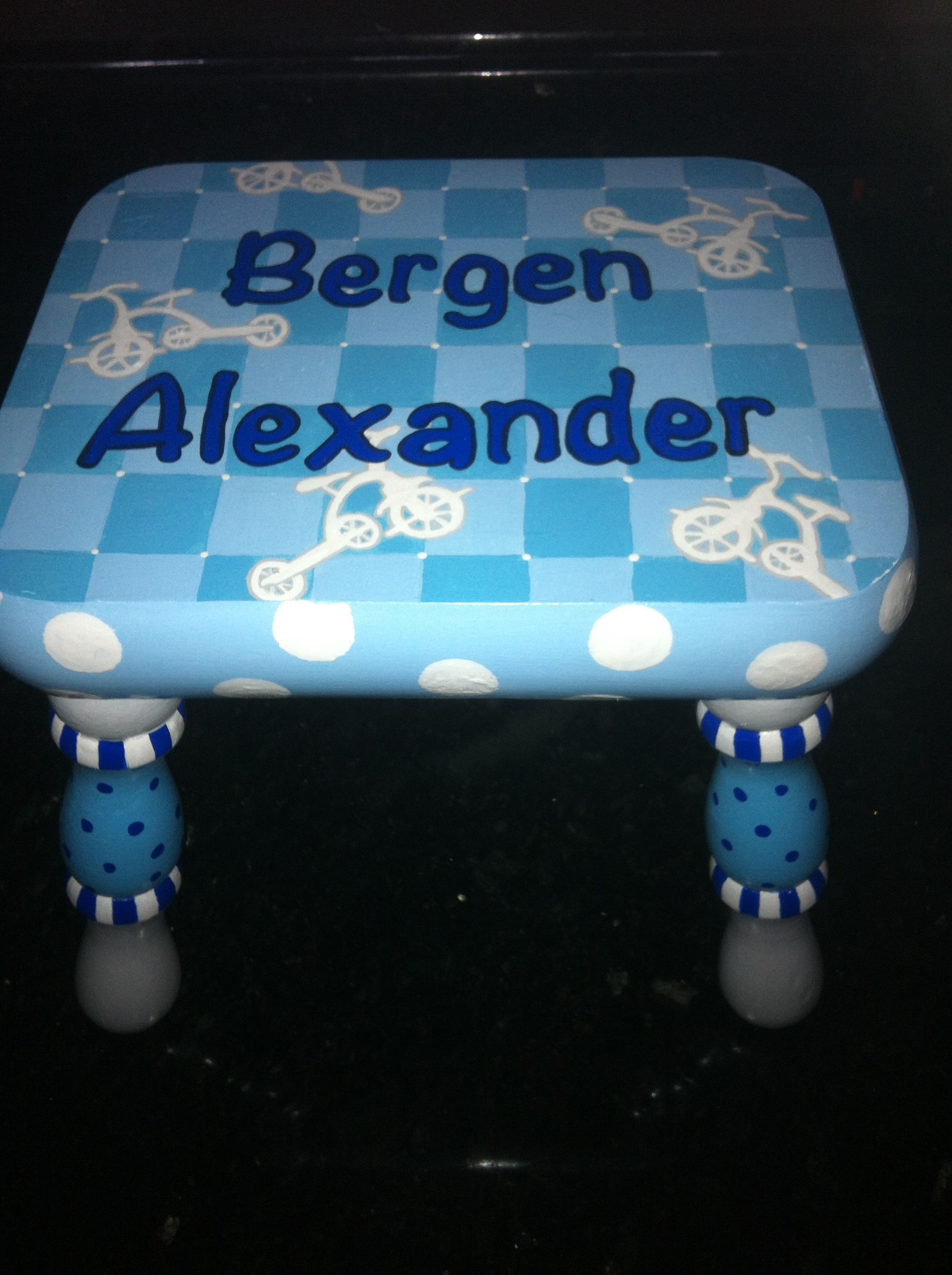 Outstanding Hand Painted Childrens Furniture Tricycle Step Stool For Short Links Chair Design For Home Short Linksinfo