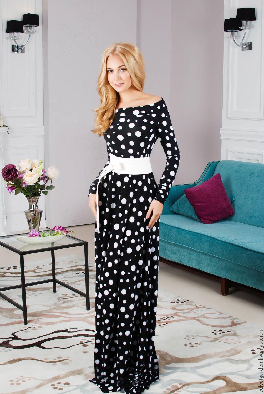 152ba3e83ca5 Купить товар Большой размер 4XL сексуальные женщины макси платье шифон  горошек о образным шеи платье свободного покроя элегантный длинным рукавом  зимний ...