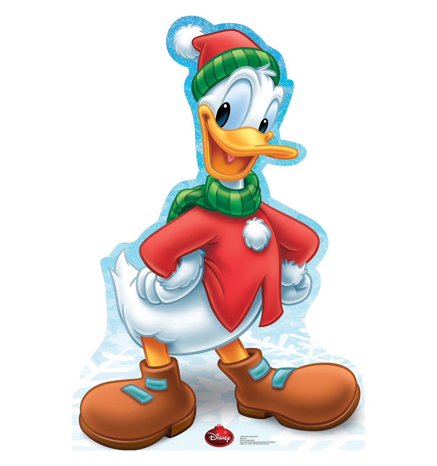 Donald Duck Christmas.Holiday Donald Duck Limited Time Edition Cardboard Cutout