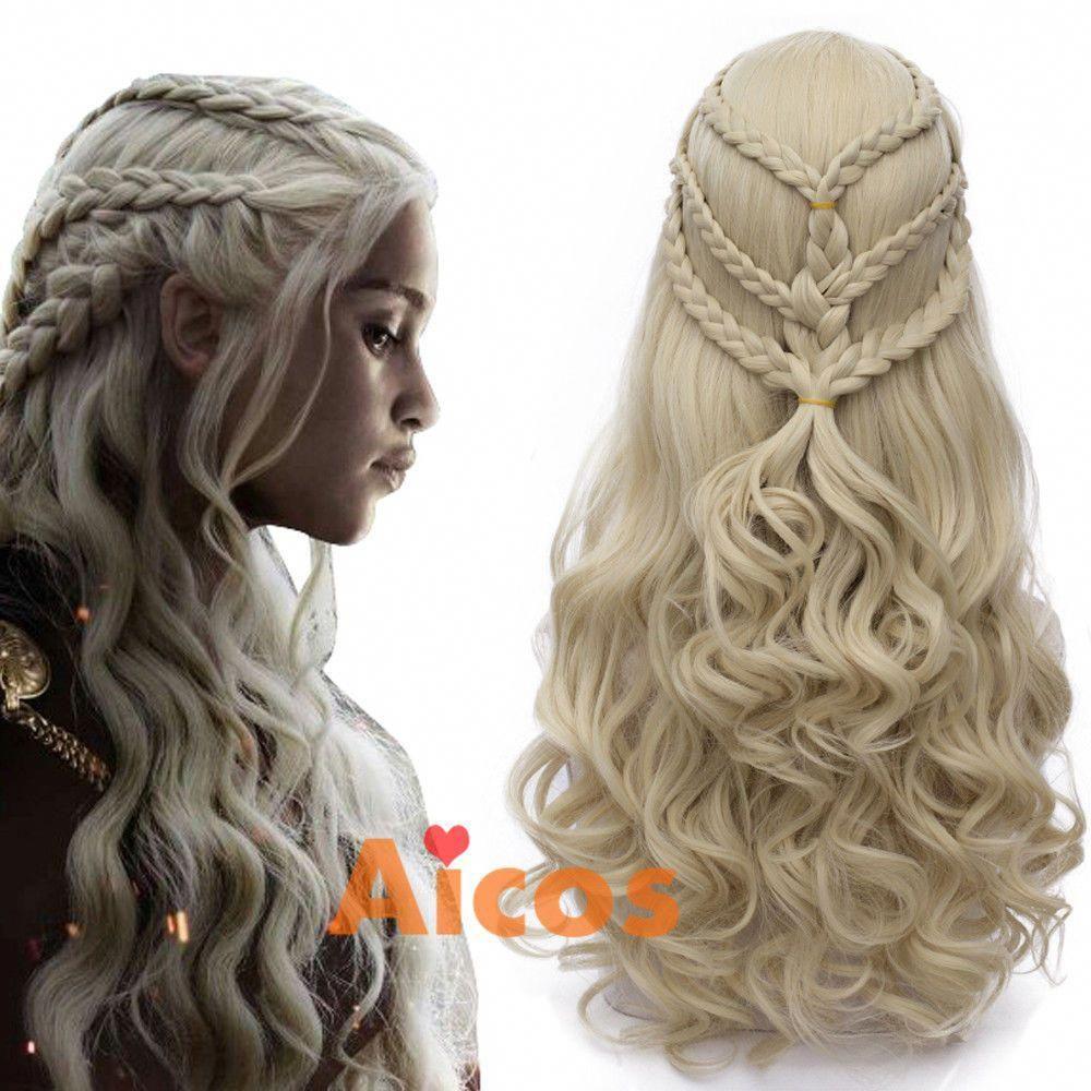 Long Blonde Cosplay Moive Wig For Game Of Thrones Daenerys Targaryen Khaleesi Aicos Wavecurly Rosebraids Targaryen Hair Long Hair Styles Braided Hairstyles