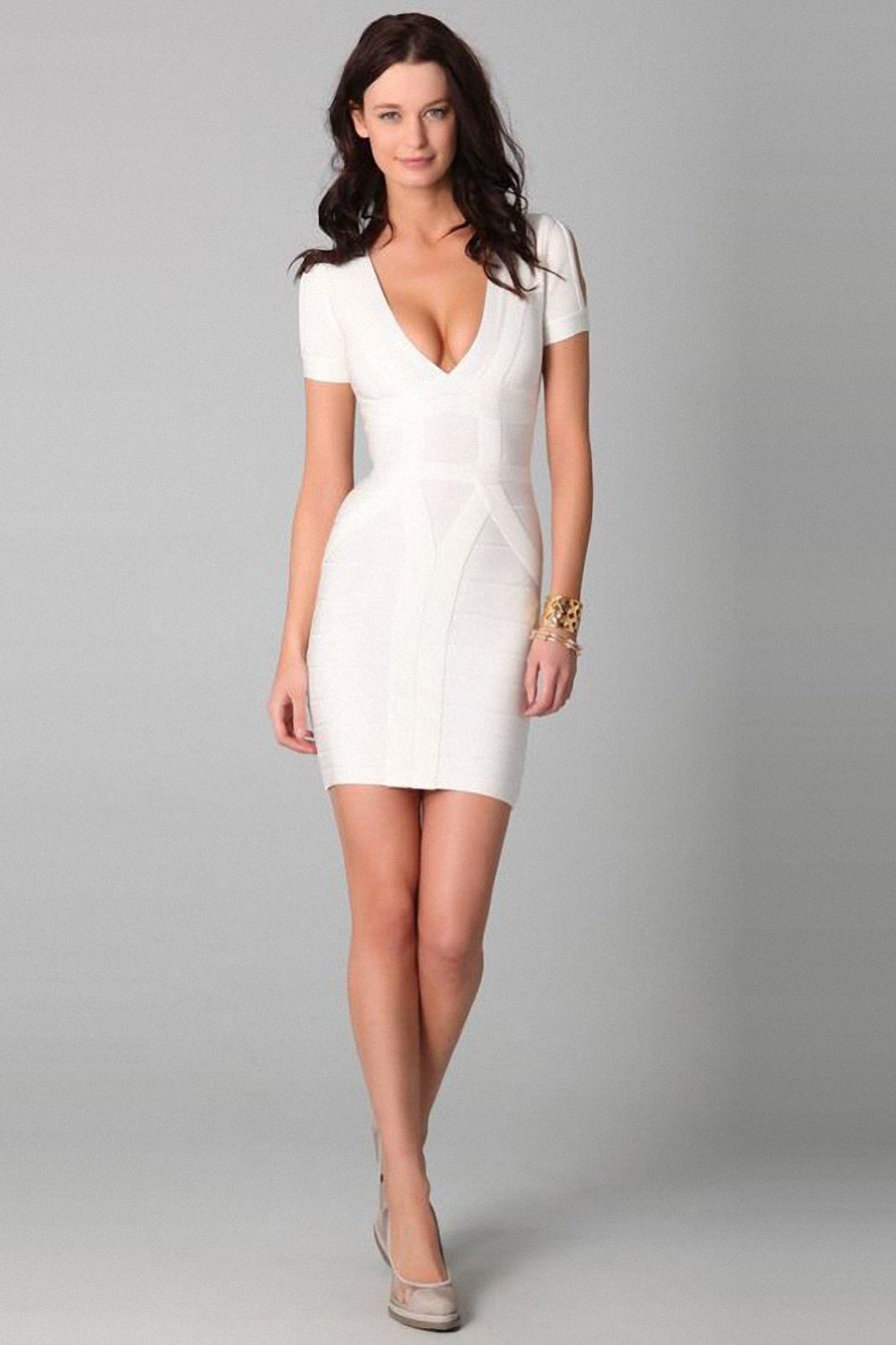 6cd4e082ae02 Taobaopit White V Neck Short Sleeves Bandage Dresses