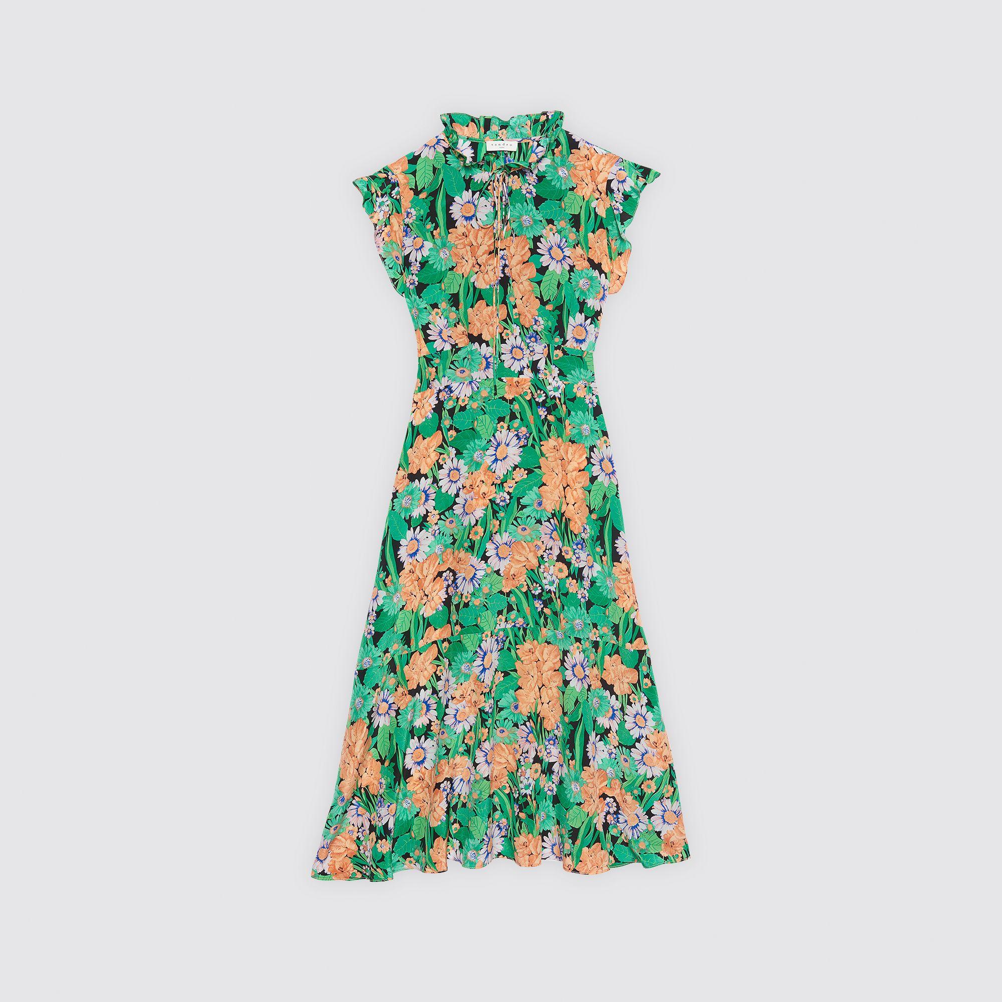 556bf806880 Mid-length silk dress with floral print - Dresses - Sandro-paris.com ...