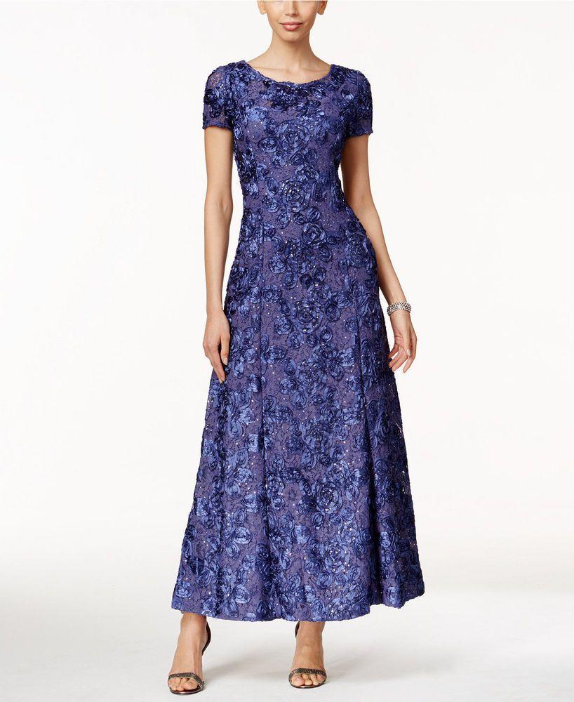 Alex evenings gown dress size rosette navy lace long new