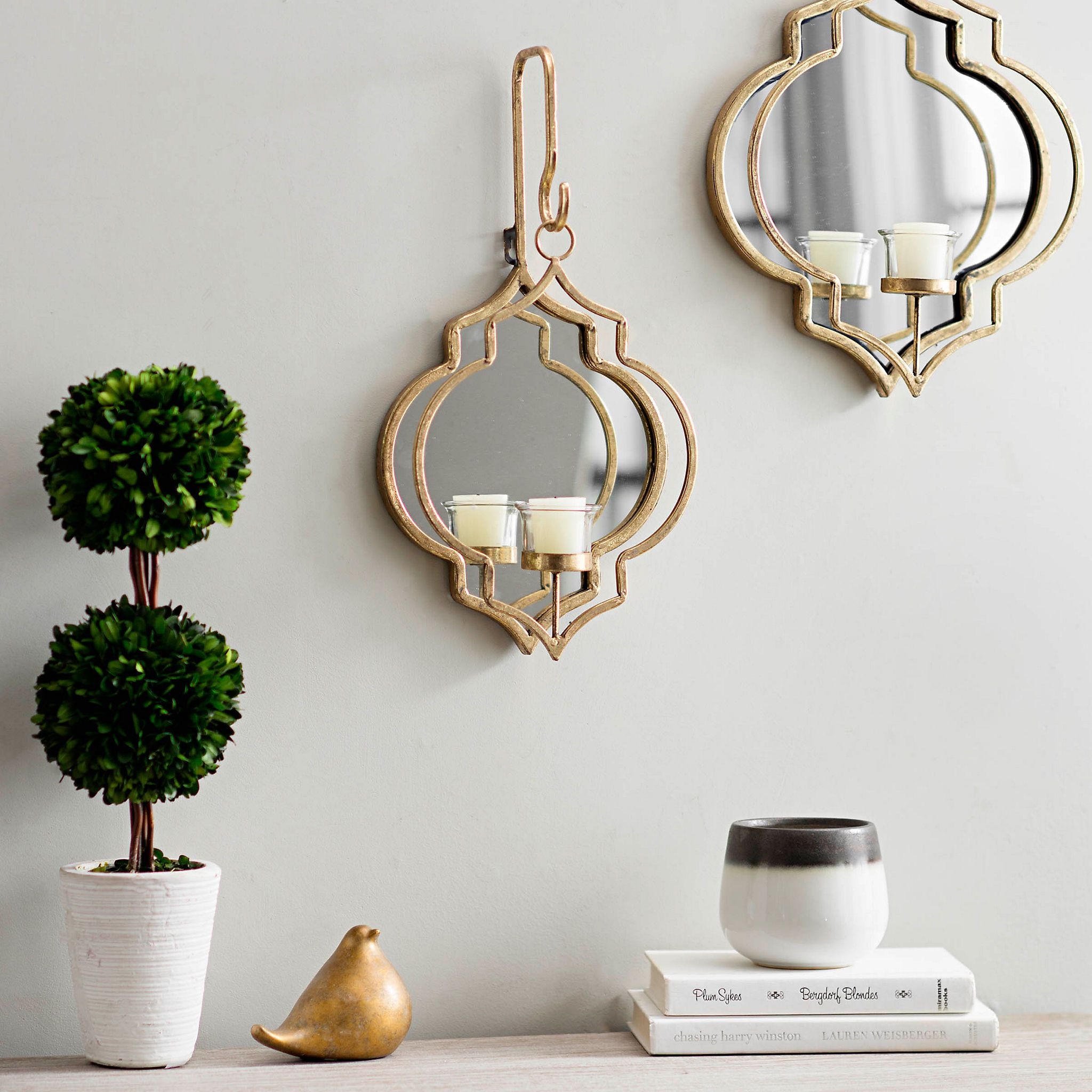 Product Details Gold Quatrefoil Mirrored Wall Sconce 17 5 In