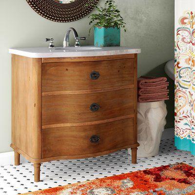 World Menagerie Blaire 36 Bathroom Vanity Set Top Finish Marble Banty White