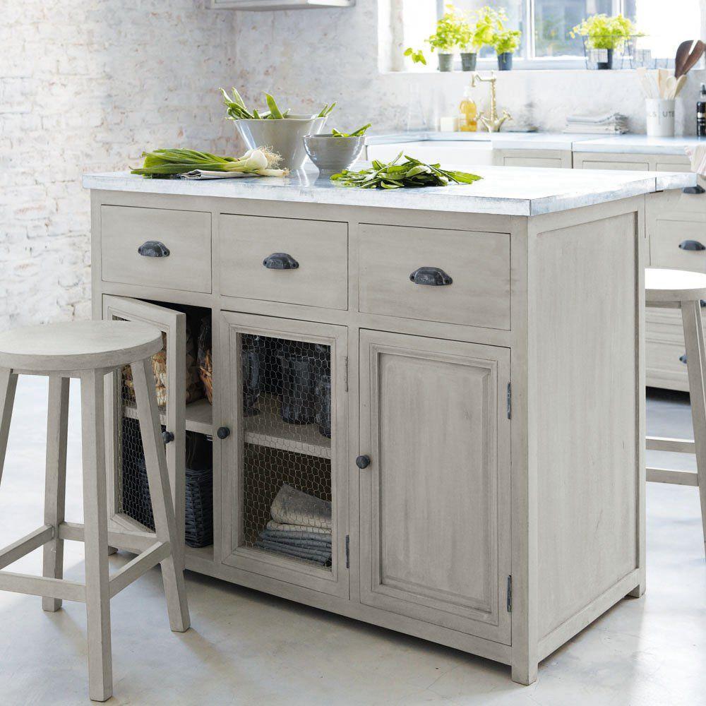Ilot Central 120 Cm 2 Tabourets Zinc Kitchen Furniture Kitchen Units Kitchen