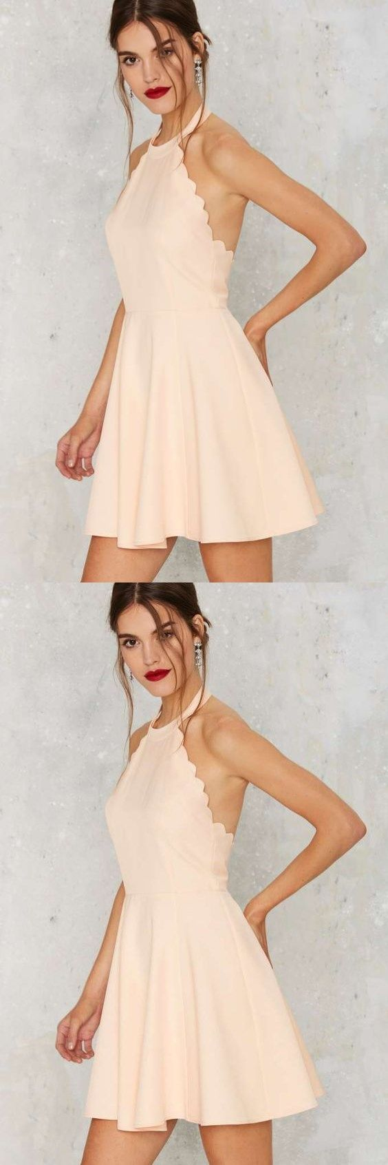 Full scallop attack flare dress peach prom dresses short above