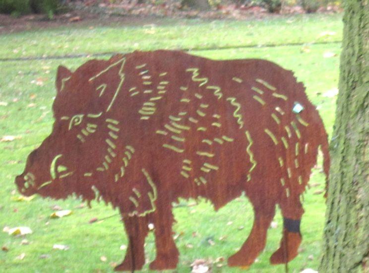 Ideal Gartenstecker Beetstecker Wildtiere Wildschwein Walter Wildtier Waldtier Tier Skulptur kunstvoll aus