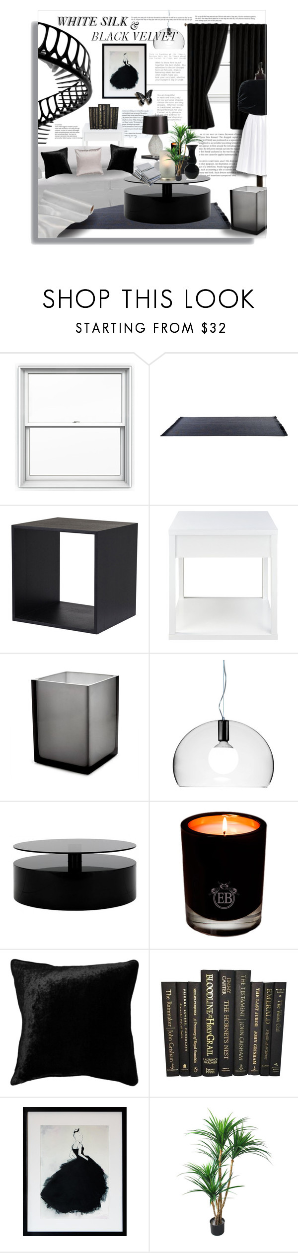 """""""White Silk & Black Velvet"""" by angelflair ❤ liked on Polyvore featuring interior, interiors, interior design, home, home decor, interior decorating, Jonathan Adler, Kartell, EB Florals and Ziggy"""
