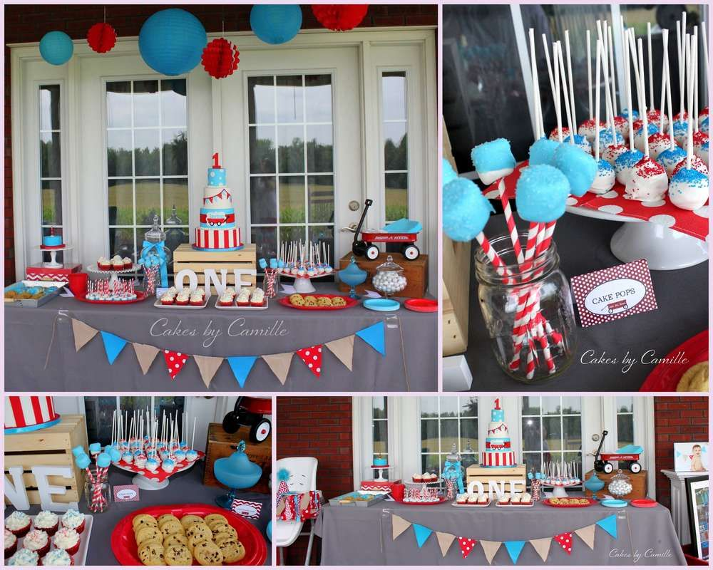 Little Red Wagon Birthday Party Ideas Photo 2 Of 16