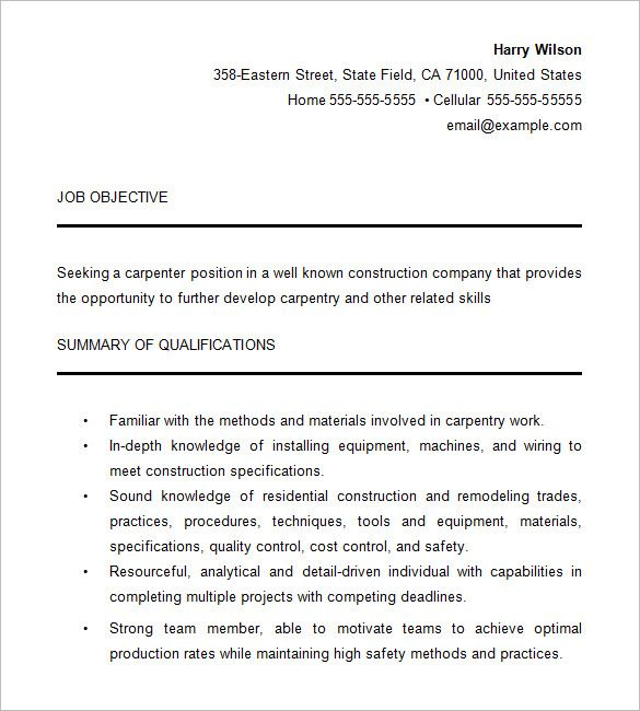 Carpenter Resume Templates Enchanting 11 Carpenter Resume Templates  Free Printable Word & Pdf  Sample .