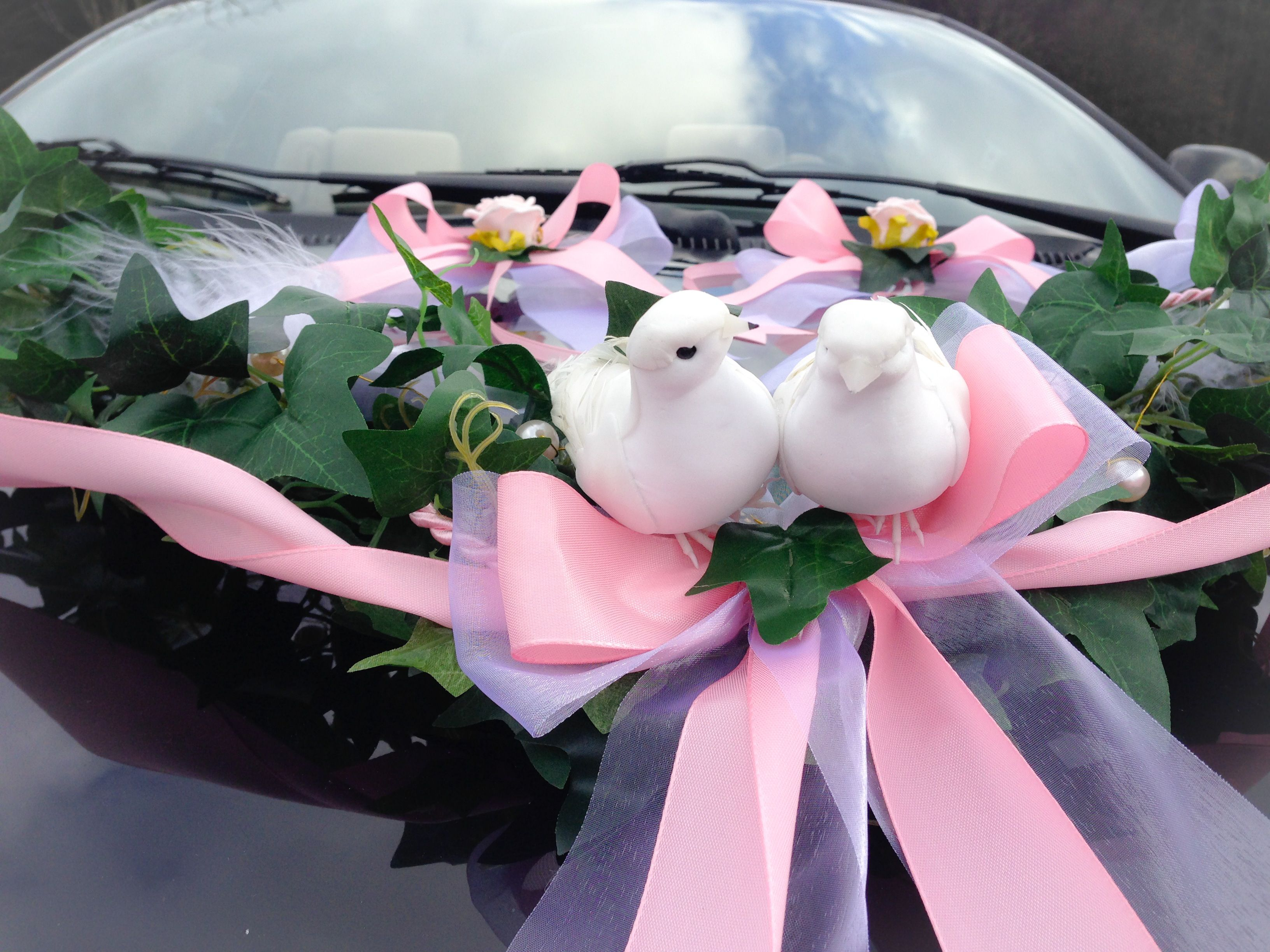 Light pink wedding car garland inclusive 2 doves and 2 bows, weather ...