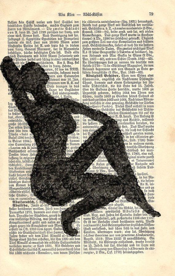 Antiquarische Buchseite aus 1893 mit gemalten Bild  von fantasmania
