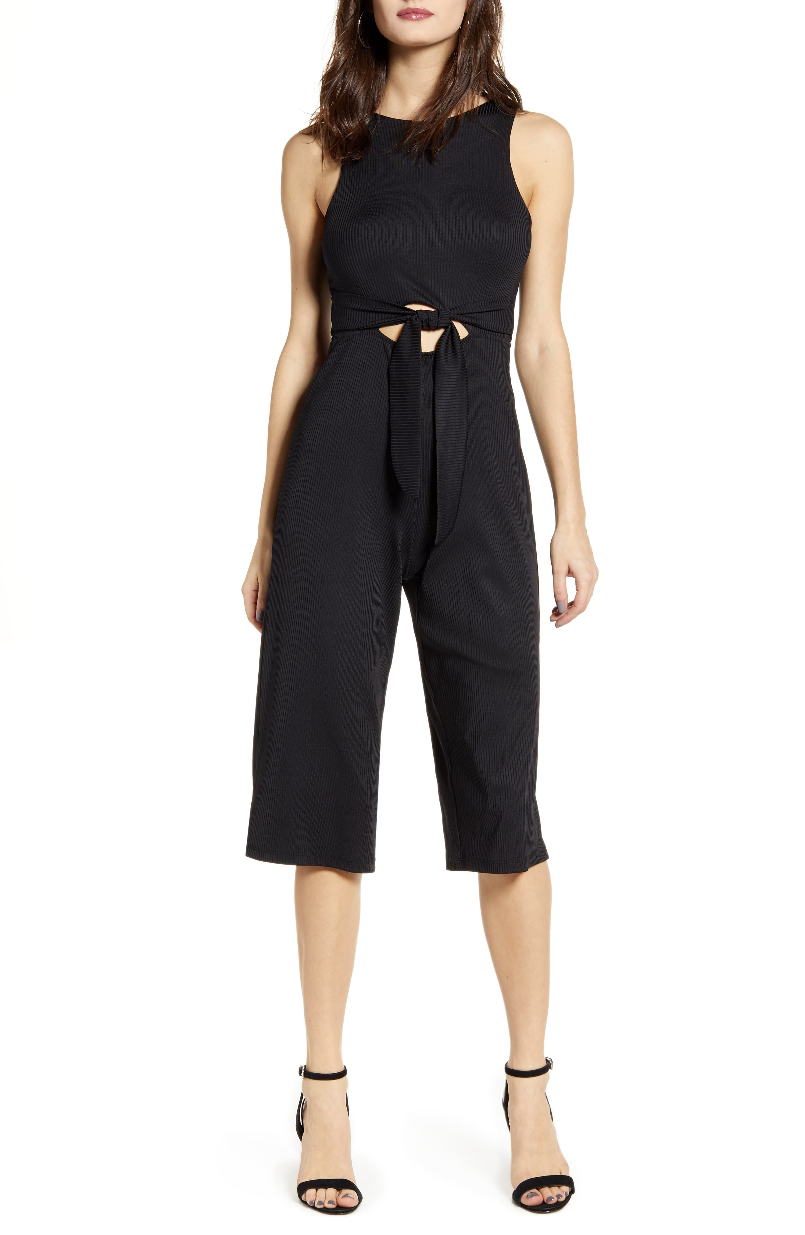 Ali /& Jay Womens Smocked Cut Out Cropped Wide Leg Sleeveless Jumpsuit