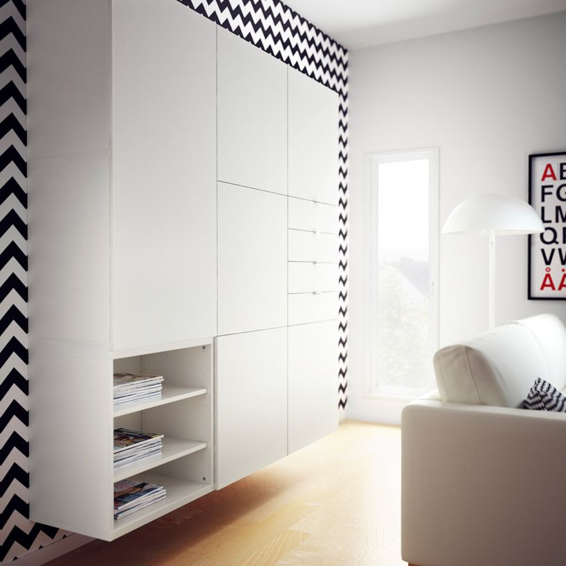 Combinaci n de almacenaje best blanca con puertas y - Ikea almacenaje salon ...