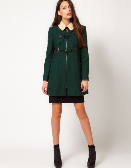 Women's Green Camille Duffle Coat | Duffle coat