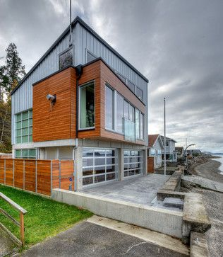 ⌂ The Container Home ⌂ View from water side. contemporary-exterior
