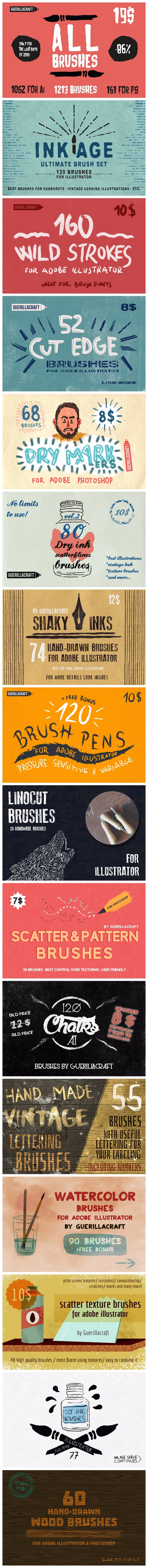 ALL Brushes By Guerillacraft https://creativemarket.com/Guerillacraft/478297-ALL-Brushes-By-Guerillacraft?u=MeeraG | #brushes #adobe #illustrator #brushes #adobephotoshopbrushes #ink #brush #dry #ink #chalk #watercolor #pen #pencil #confetti #sale #vintage #illustration #calligraphy