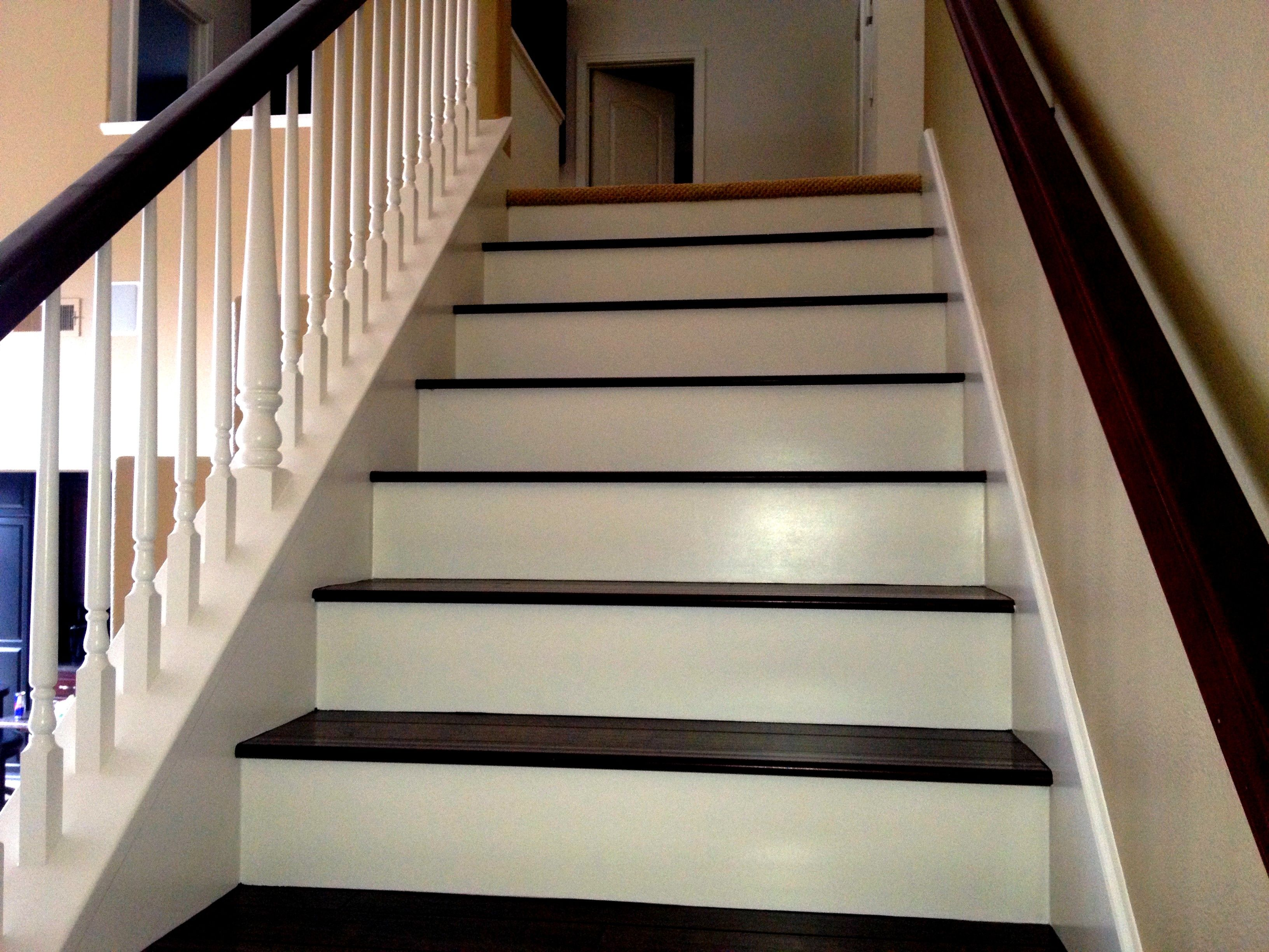Best White Trim And Dark Stained Tread Stairs With Images 640 x 480