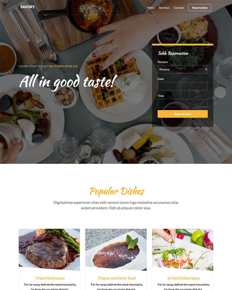 Savory: Free HTML5 Bootstrap Template for Restaurants Websites ...