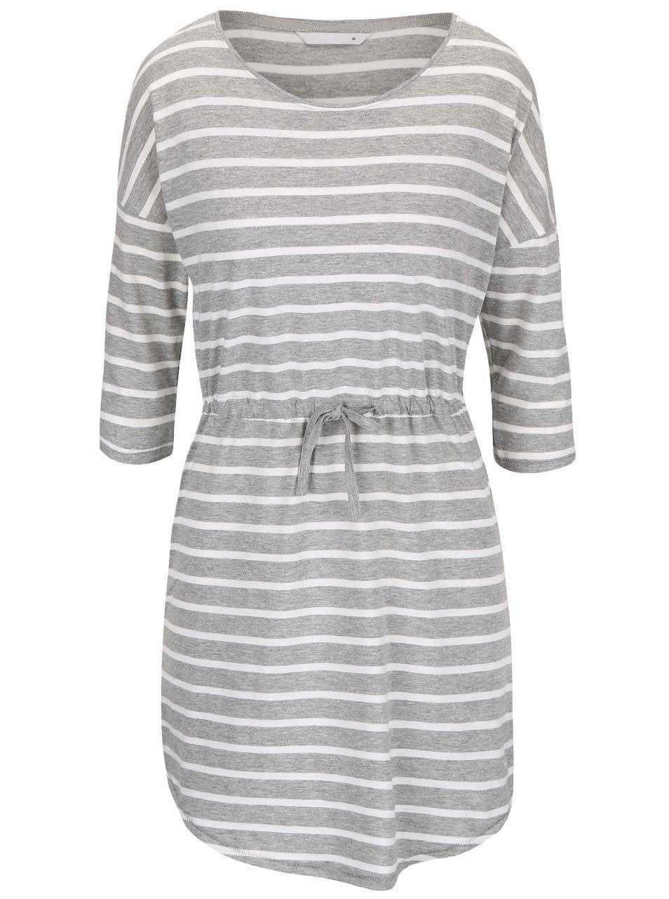 612be4b316f Krémovo-šedé pruhované šaty s 3 4 rukávem ONLY May