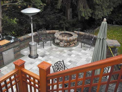 Paver Patio With Fire Pit | Custom Paver Patio Grill And Fire Pit