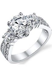 """1.50 Carat Round Cubic Zirconia """" Past, Present, Future"""" Sterling Silver 925 Wedding Engagement Ring  $26.99 Prime Metal Masters Co."""