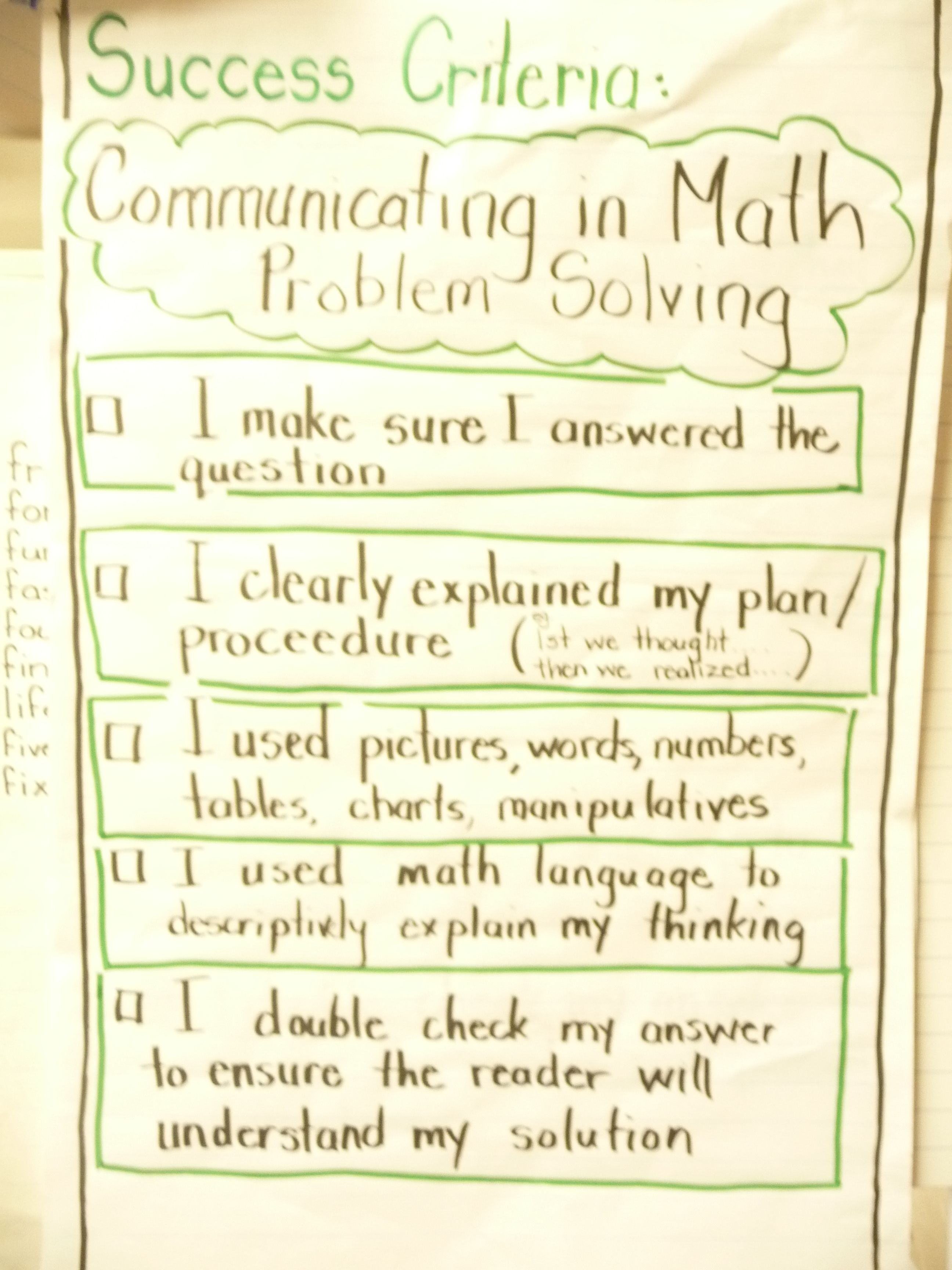 Learning Goals And Success Criteria Math