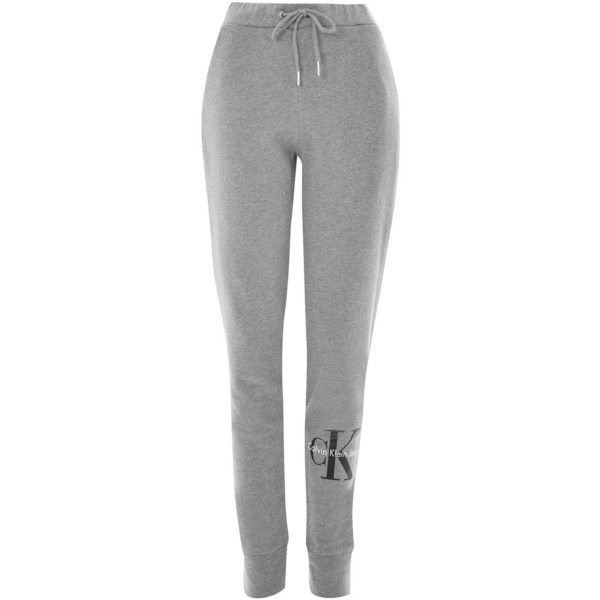 Cotton Logo Joggers by Calvin Klein (€50) ❤ liked on Polyvore featuring activewear, activewear pants, grey marl, calvin klein, calvin klein sportswear, cotton activewear, logo sportswear and calvin klein activewear