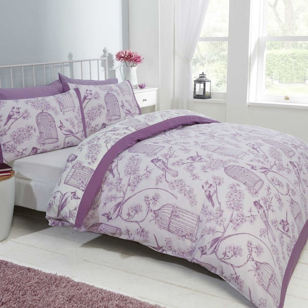 Mauve Lilac White Floral Branch Birds Birdcage Reversible Duvet Cover Bed Set Purple Bedding Sets Purple Bedding Bedroom Green