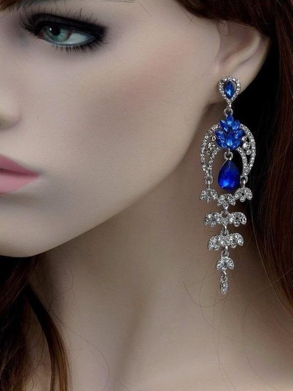 Earrings Chandelier Earrings Free shipping Rhodium Plated Blue Crystal Rhinestone Prom Wedding Dangle Drop Earrings Gift for women