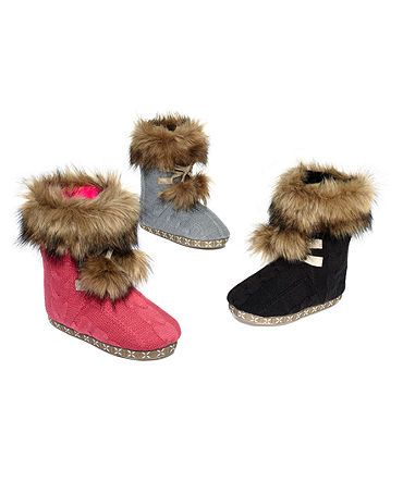 fc15362fbc95 Kensie faux fur cable knit slipper booties