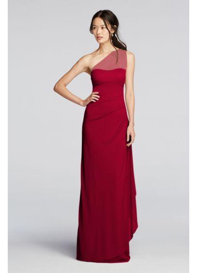 Long Mesh One Shoulder Illusion Dress Davids Bridal Bridesmaid Dresses Bridesmaid Dressing Gowns Wine Bridesmaid Dresses