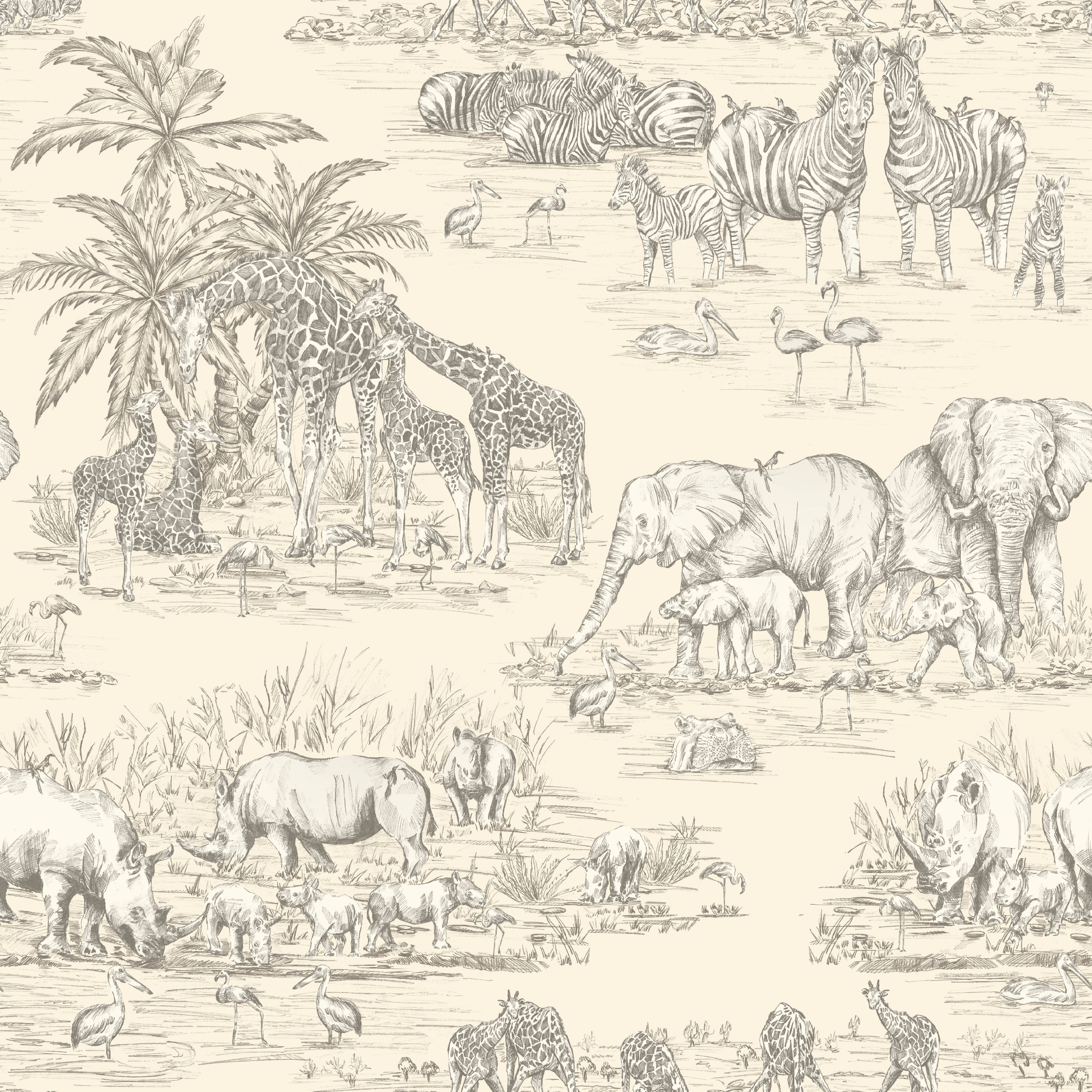 Colours Watering Hole Cream Animal Safari Metallic Wallpaper Departments Diy At B