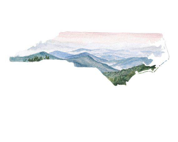 North Carolina Print North Carolina Map North Carolina Wall Art