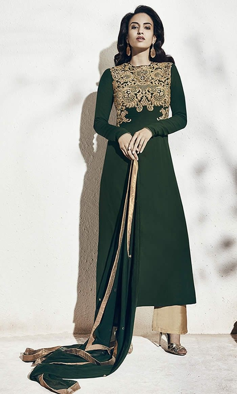 6facfc9ba5 Bottle Green Colour Georgette Designer Party Wear Suit Buy Sarees ...