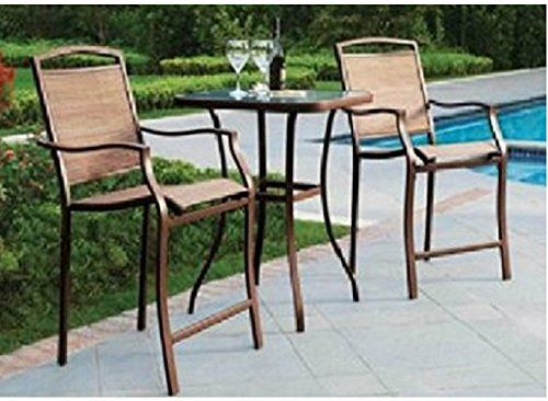 3 PC HIGH TOP BISTRO TABLE CHAIRS SET ~ SLINGBACK MATERIAL Beige Mainstays / & 3 PC HIGH TOP BISTRO TABLE CHAIRS SET ~ SLINGBACK MATERIAL Beige ...