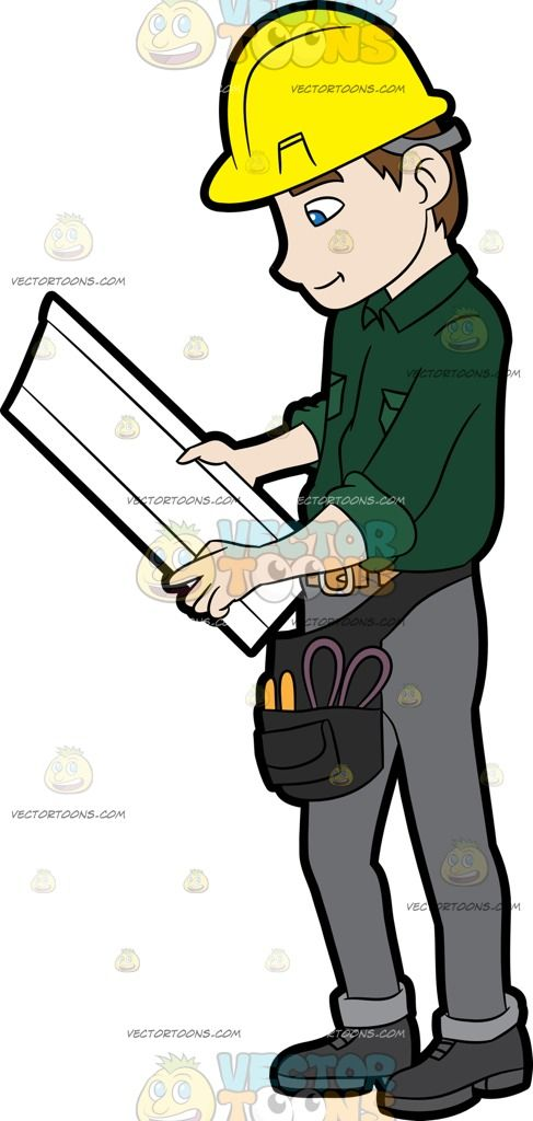 A Construction Worker Examining A Set Of Blueprints Construction - best of blueprint construction clipart
