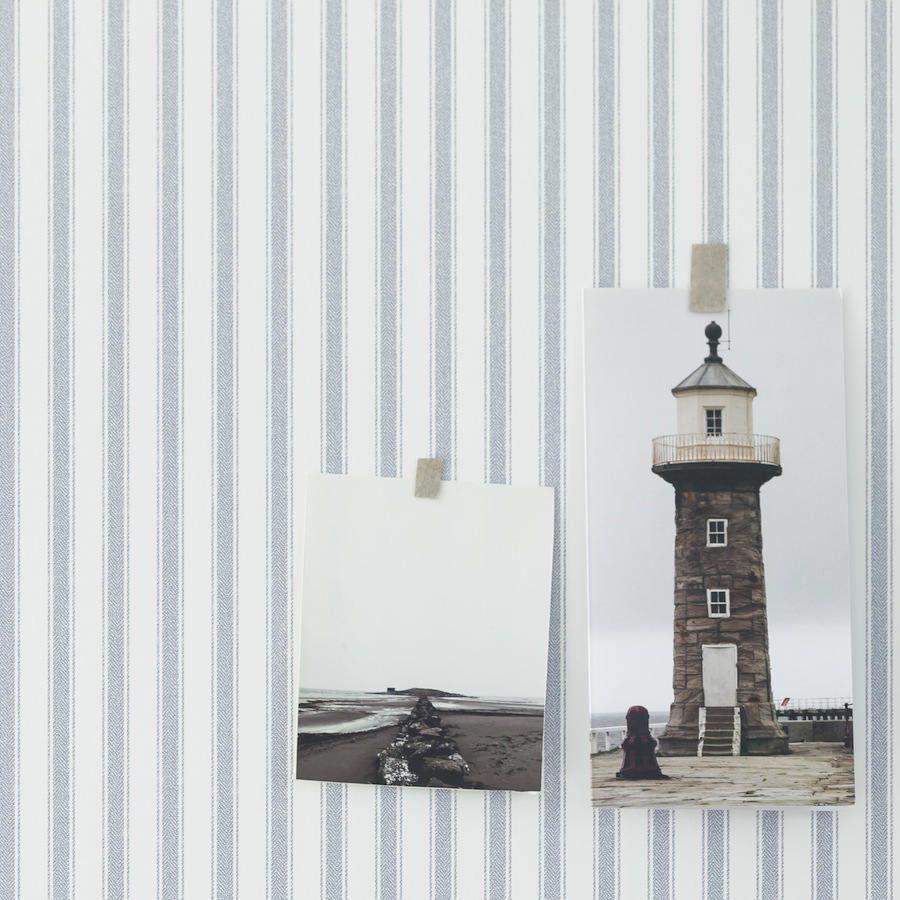Papel pintado rayas herringbone azul telas papel for Papel pintado rayas