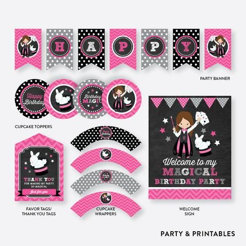 Magician Girl Chalkboard Standard Kids Birthday Party Package / Non-Personalized…