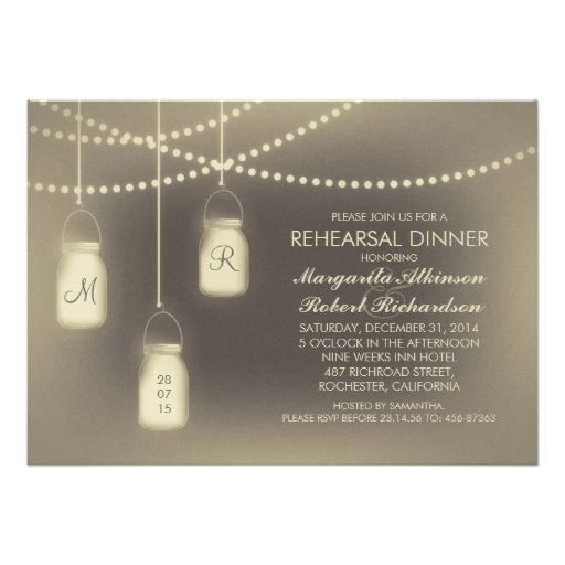 rustic vintage mason jar lights rehearsal dinner card