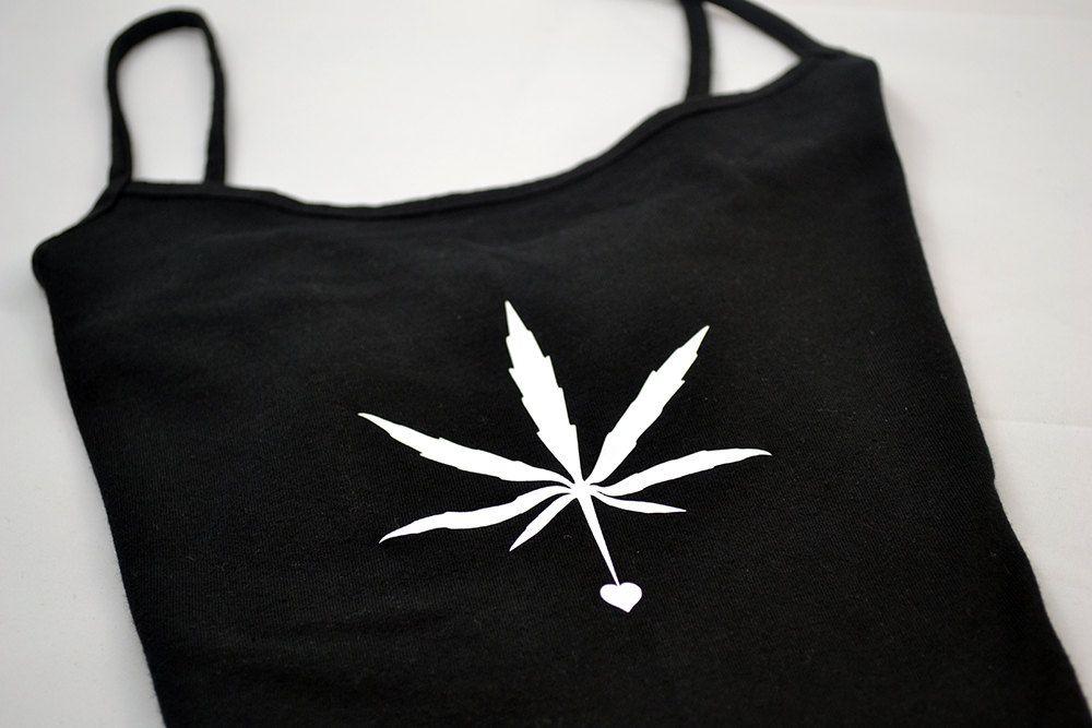 Marijuana Cannabis Leaf Black Tank Top by TrippyDrippyShop on Etsy