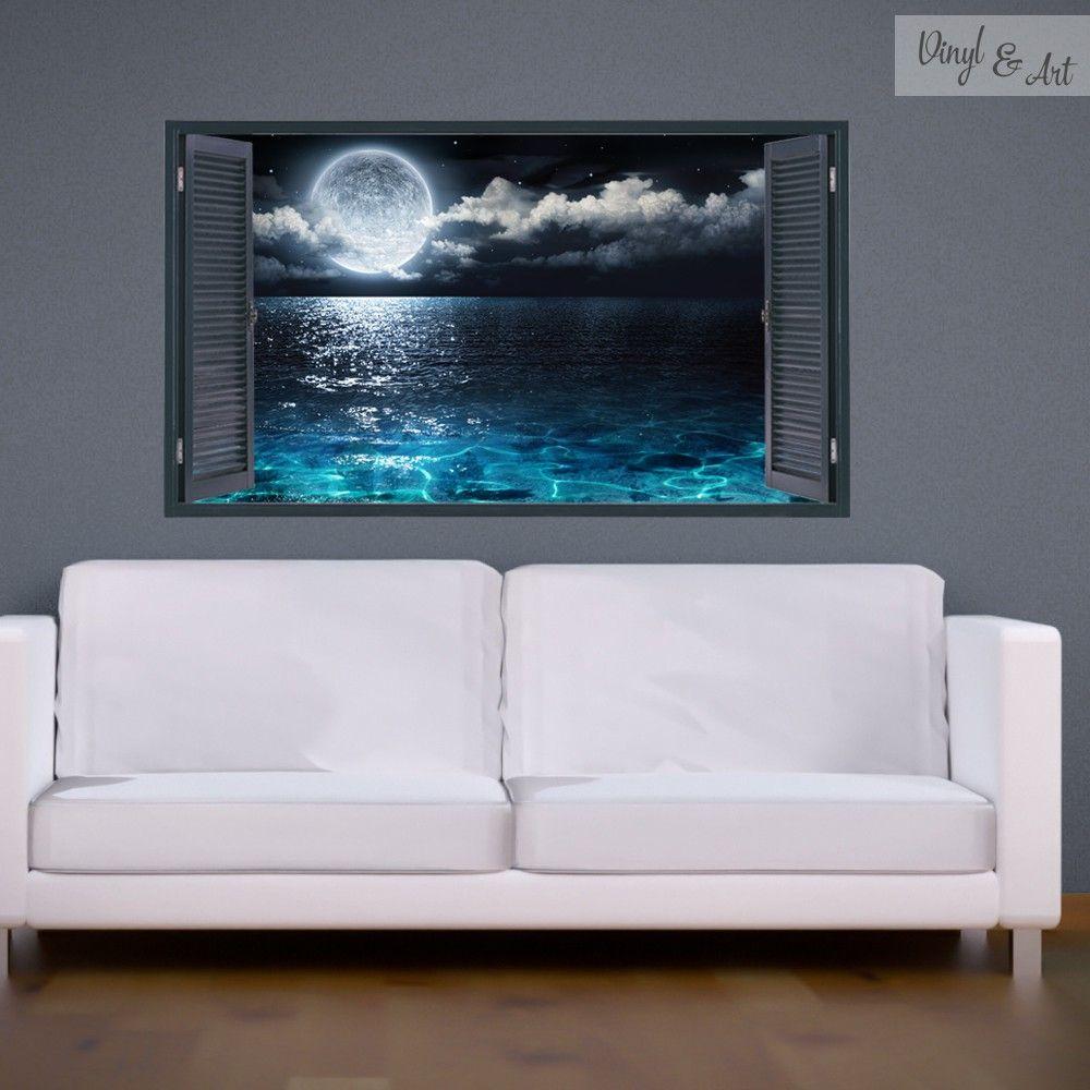 Vinilo decorativo ventana mar y luna adhesivos for Vinilos murales adhesivos
