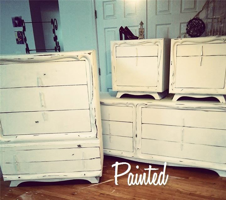 Retro Bedroom Set Painted White And Distressed Silver Hardware Vintage Set Updated Cinderella Sty Retro Bedrooms Vintage Retro Bedrooms Bedroom Night Stands