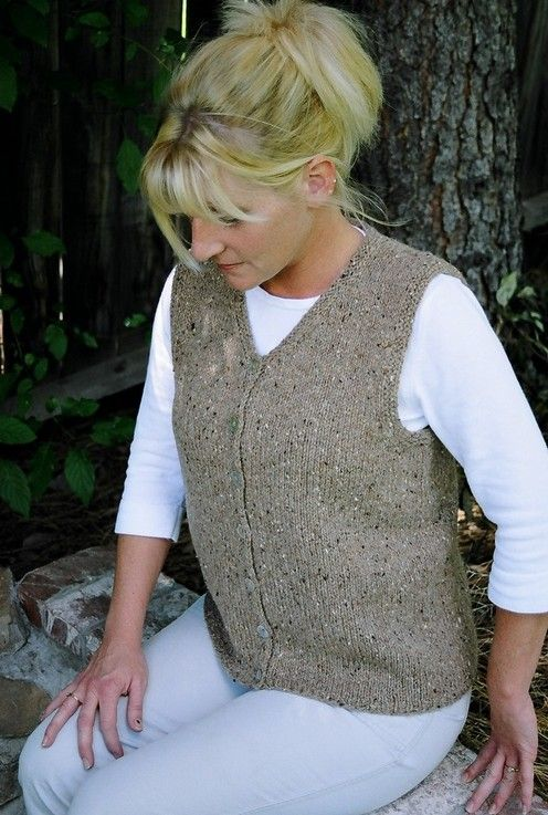 Knitting Pure And Simple Diane Soucy Basic Cardigan Vest For Women