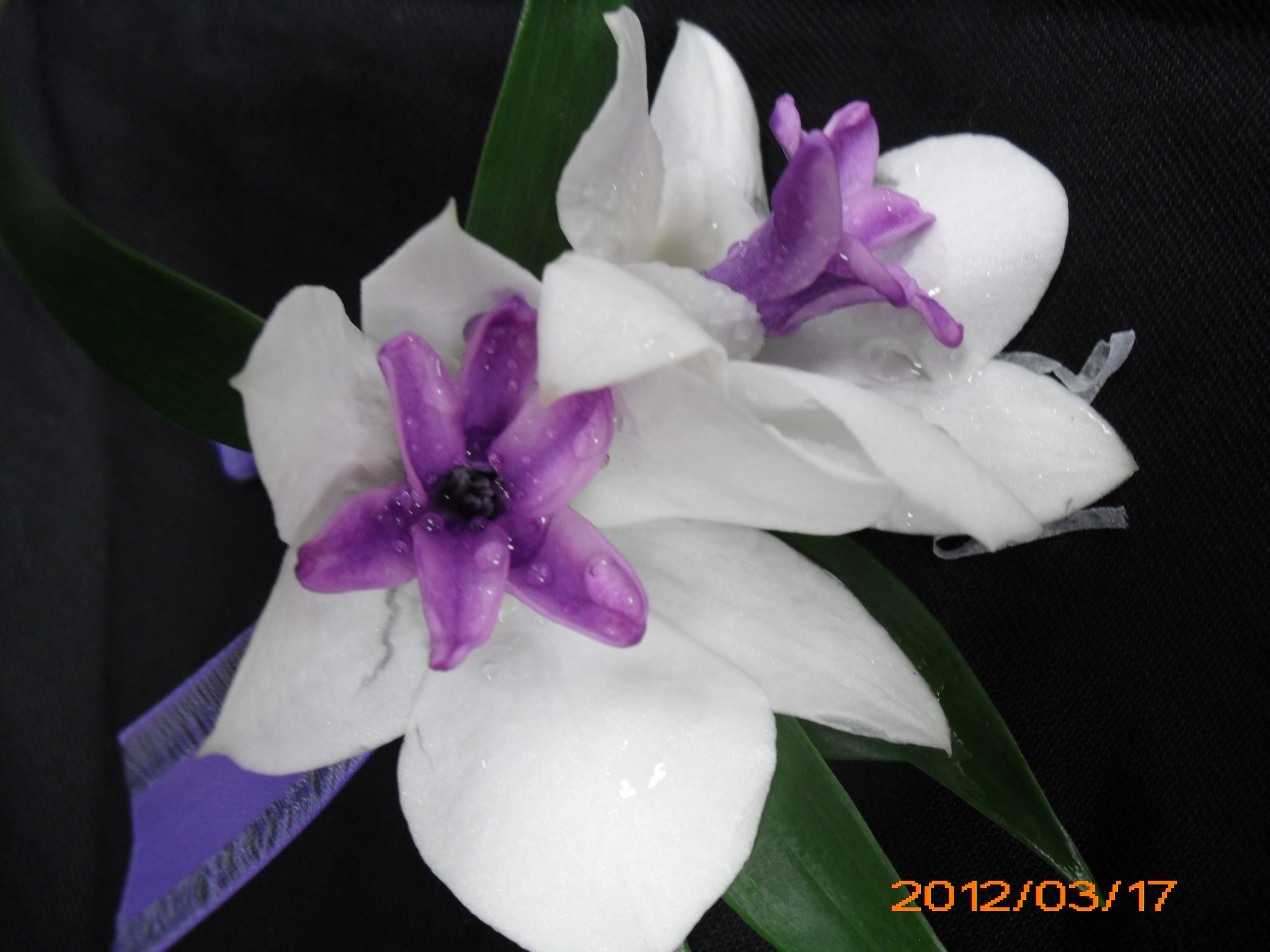 White And Purple Flower Boutonniere For Wedding Events And Prom